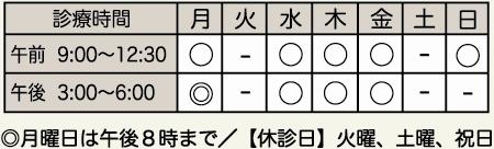 "<table id=""ccb143f9-1b7e-324c-7430-515664faa016"" border=""1""> <tbody> <tr> <td> <div align=""center"">診療時間</div></td> <td> <div align=""center"">月</div></td> <td> <div align=""center"">火</div></td> <td> <div align=""center"">水</div></td> <td> <div align=""center"">木</div></td> <td> <div align=""center"">金</div></td> <td> <div align=""center"">土</div></td> <td> <div align=""center"">日</div></td> </tr> <tr> <td> <div align=""center"">午前 9:00~12:30</div></td> <td> <div align=""center"">○</div></td> <td> <div align=""center"">-</div></td> <td> <div align=""center"">○</div></td> <td> <div align=""center"">○</div></td> <td> <div align=""center"">○</div></td> <td> <div align=""center"">-</div></td> <td> <div align=""center"">○</div></td> </tr> <tr> <td> <div align=""center"">午後 3:00~ 6:00</div></td> <td> <div align=""center"">◎</div></td> <td> <div align=""center"">-</div></td> <td> <div align=""center"">○</div></td> <td> <div align=""center"">○</div></td> <td> <div align=""center"">○</div></td> <td> <div align=""center"">-</div></td> <td> <div align=""center"">-</div></td> </tr> </tbody> </table> ◎月曜日は午後8時まで、日曜日は午前のみ診察いたします。 休診日:火曜日、土曜日、祝日"